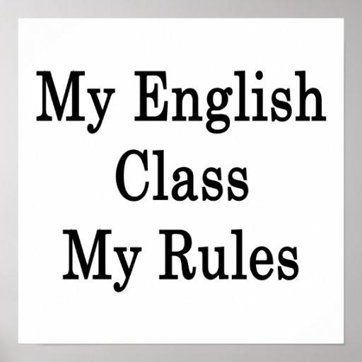 Mi clase de inglés mis reglas póster