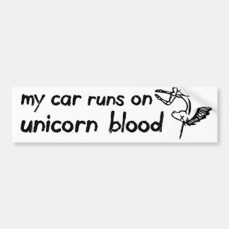 Mi coche corre en sangre del unicornio pegatina para auto