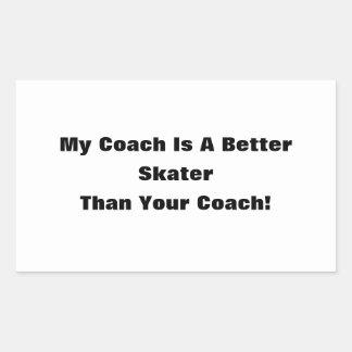 ¡Mi coche es mejor patinador que su coche! Pegatina Rectangular