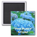 ¡Mi cocina! flores azules del Hydrangea de los ima Iman De Frigorífico