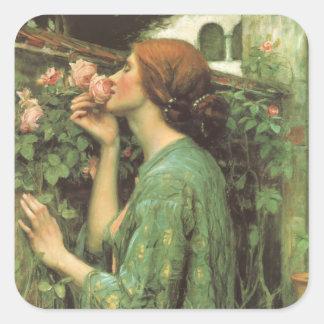 Mi color de rosa dulce, o alma del color de rosa pegatina cuadrada