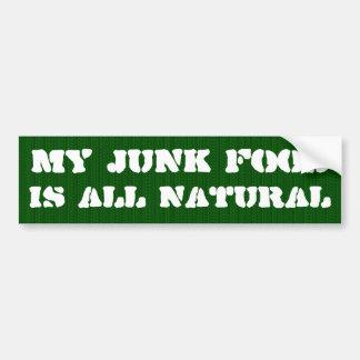 Mi comida basura es todo natural pegatina para auto