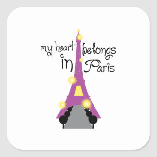 Mi corazón adentro pertenece París Pegatina Cuadrada
