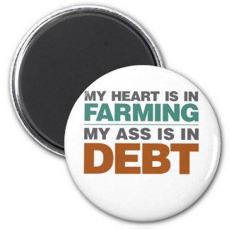 Mi corazón consiste en el cultivo pero… imán redondo 5 cm
