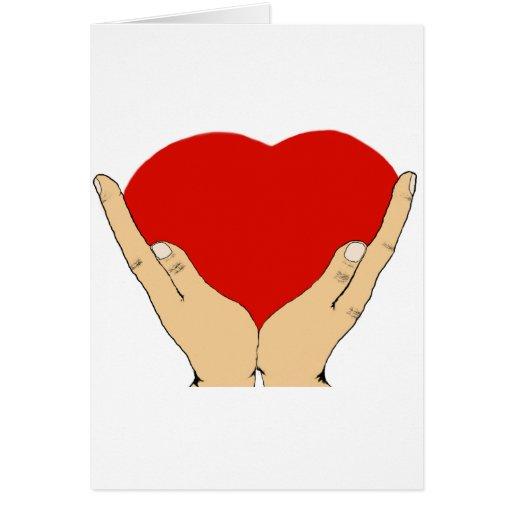 Mi corazón en sus manos tarjeta de felicitación