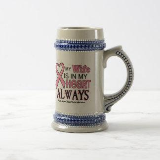Mi corazón está con mi CÁNCER de PECHO de la espos Tazas De Café