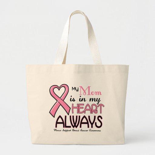 Mi corazón está con mi CÁNCER de PECHO de la mamá Bolsas De Mano
