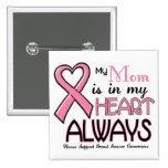 Mi corazón está con mi CÁNCER de PECHO de la mamá Pins