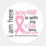 Mi corazón está con mi cáncer de pecho de la pegatina redonda