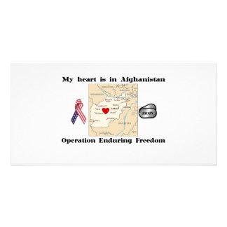 Mi corazón está en Afganistán Tarjeta Con Foto Personalizada