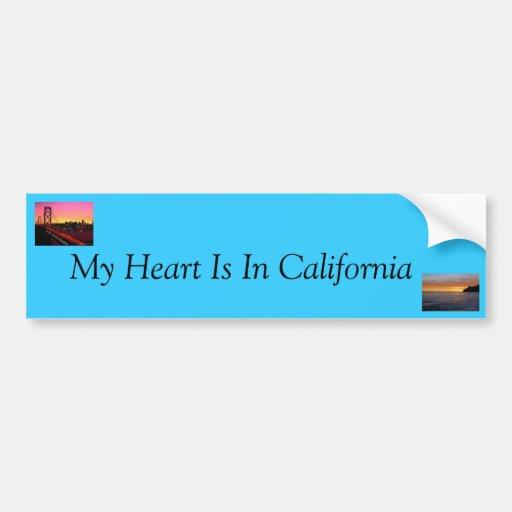 Mi corazón está en California Pegatina De Parachoque