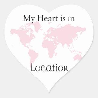 Mi corazón está en… pegatina en forma de corazón