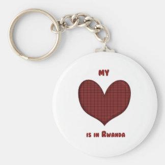 Mi corazón está en Rwanda Llavero Redondo Tipo Pin