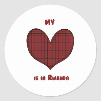 Mi corazón está en Rwanda Pegatina Redonda