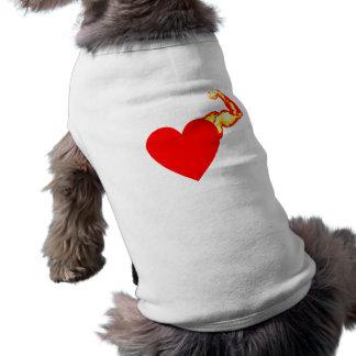Mi corazón golpea izquierda playera sin mangas para perro