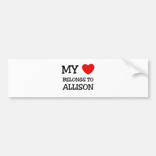 Mi corazón pertenece a ALLISON Pegatina De Parachoque