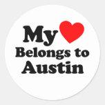Mi corazón pertenece a Austin Etiquetas Redondas