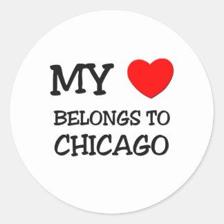Mi corazón pertenece a CHICAGO Pegatina Redonda
