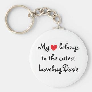 Mi corazón pertenece a Doxie Llavero Redondo Tipo Pin