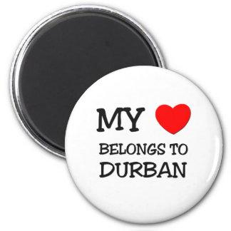 Mi corazón pertenece a DURBAN Imán Redondo 5 Cm