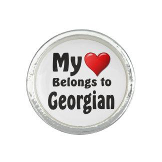 Mi corazón pertenece a georgiano anillo con foto