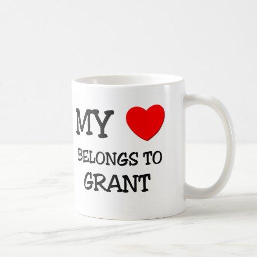 Mi corazón pertenece a Grant Tazas De Café