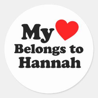 Mi corazón pertenece a Hannah Pegatina Redonda