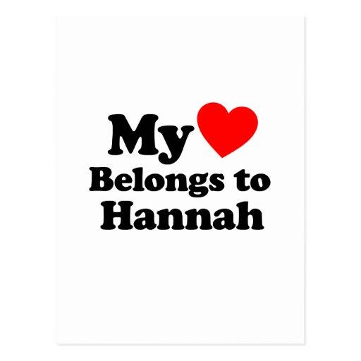 Mi corazón pertenece a Hannah Postal