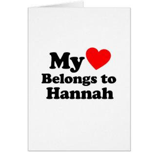 Mi corazón pertenece a Hannah Tarjeta De Felicitación
