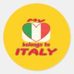 Mi corazón pertenece a Italia Etiquetas Redondas