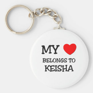 Mi corazón pertenece a KEISHA Llavero Redondo Tipo Pin