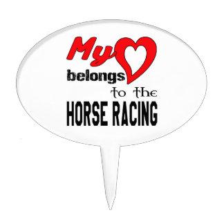 Mi corazón pertenece a la carrera de caballos figuras para tartas