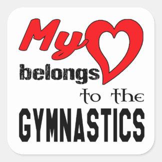 Mi corazón pertenece a la gimnasia pegatina cuadrada