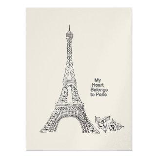 Mi corazón pertenece a la invitación de París