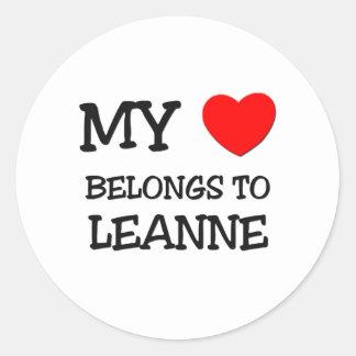 Mi corazón pertenece a LEANNE Etiqueta Redonda