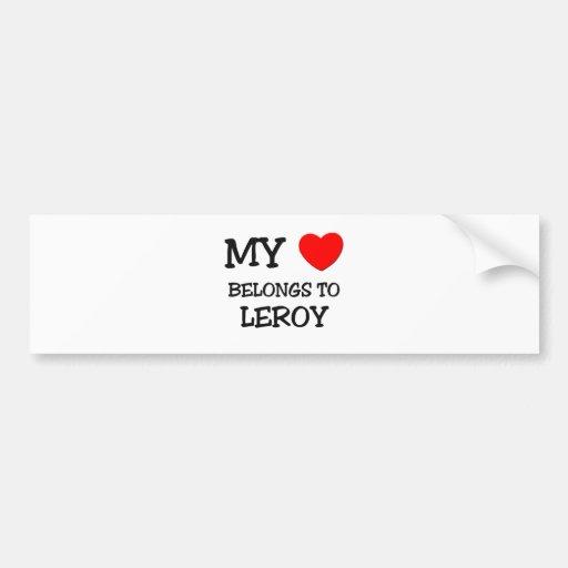 Mi corazón pertenece a Leroy Etiqueta De Parachoque