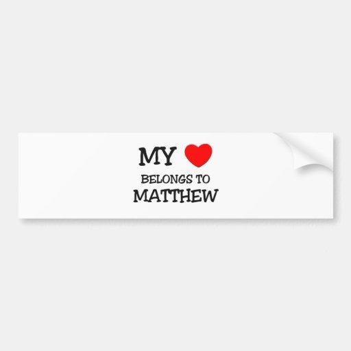 Mi corazón pertenece a Matthew Etiqueta De Parachoque