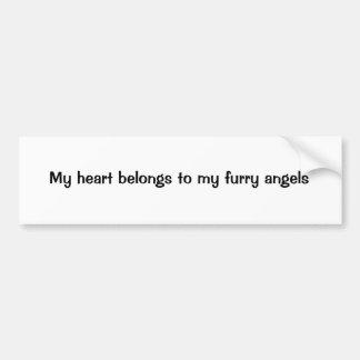 Mi corazón pertenece a mis ángeles peludos pegatina para auto