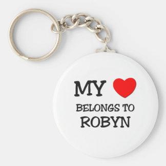 Mi corazón pertenece a ROBYN Llavero Redondo Tipo Pin