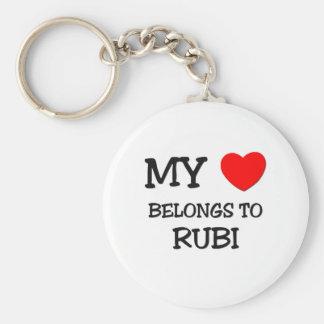 Mi corazón pertenece a RUBI Llavero Redondo Tipo Pin