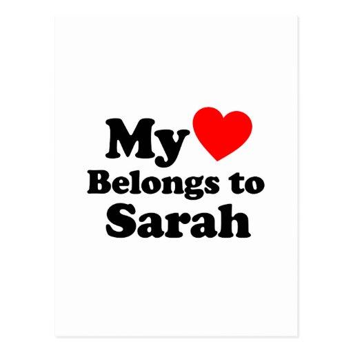 Mi corazón pertenece a Sarah Tarjetas Postales