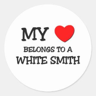 Mi corazón pertenece a SMITH BLANCO Etiquetas Redondas
