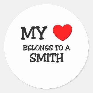 Mi corazón pertenece a SMITH Pegatina Redonda