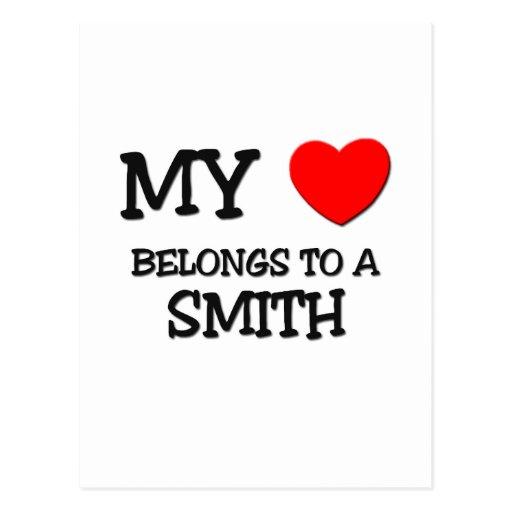 Mi corazón pertenece a SMITH Tarjetas Postales