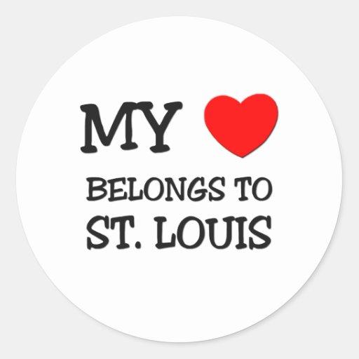 Mi corazón pertenece a ST. LOUIS Pegatina Redonda