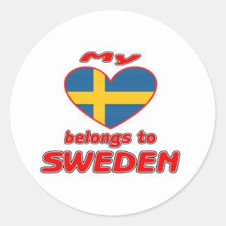 Mi corazón pertenece a Suecia Etiqueta Redonda