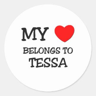 Mi corazón pertenece a TESSA Etiquetas Redondas