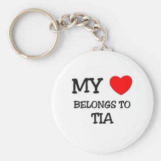 Mi corazón pertenece a TIA Llavero Redondo Tipo Pin