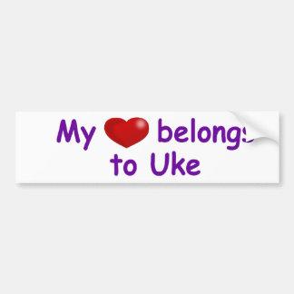 Mi corazón pertenece a Uke Etiqueta De Parachoque