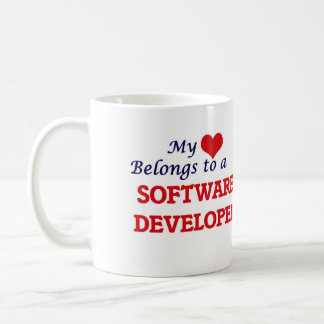 Mi corazón pertenece a un analista de programas taza de café